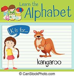 alfabeto, canguro, flashcard, k