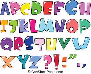 alfabeto, caricatura