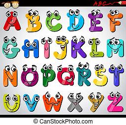 alfabeto, cartas, caricatura, ilustración, capital