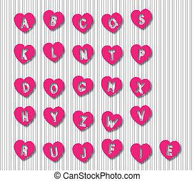 alfabeto, cartas, corazón