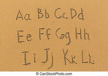 alfabeto, cartas, dibujado, en, playa