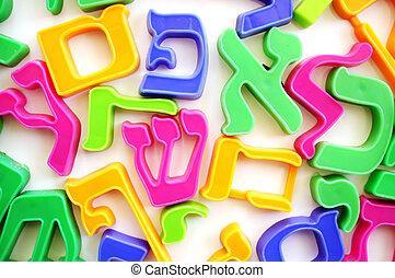alfabeto, cartas, hebreo
