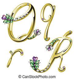 alfabeto, cartas, joyas, oro, q
