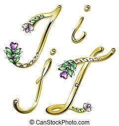 alfabeto, cartas, joyas, oro, yo