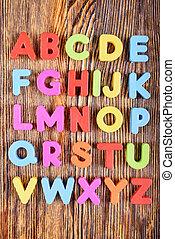 alfabeto, cartas, plástico