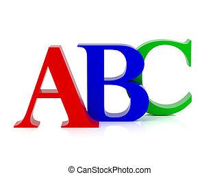 alfabeto, cartas, tres
