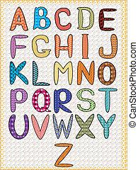 alfabeto, cmyk