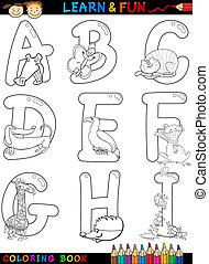 alfabeto, coloração, animais, caricatura