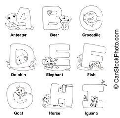 alfabeto, colorido, niños