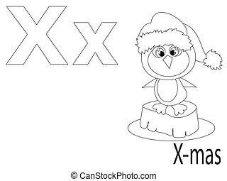 alfabeto, colorido, niños, x