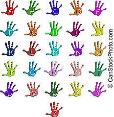 alfabeto, coloridos, mão