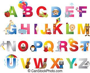 alfabeto, completo, childrens