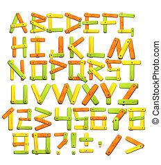 alfabeto, con, lettere, da, cartoline legno