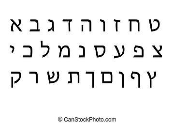alfabeto, conjunto, hebreo