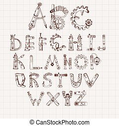 alfabeto, conjunto, mecánico