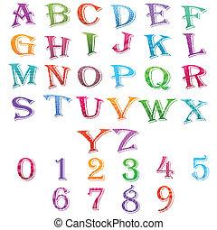 alfabeto, conjunto, número