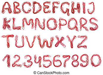 alfabeto, contas, vermelho