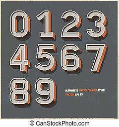 alfabeto, cor, estilo retro, números