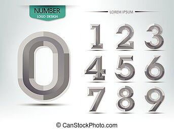 alfabeto, cor, modernos, estilo, número