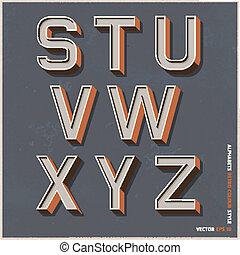 alfabeto, cor, retro, style.