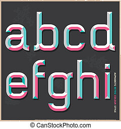 alfabeto, cor, style., vindima