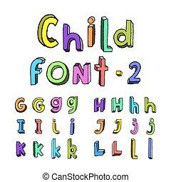 alfabeto, crianças, caricatura