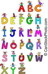 alfabeto, crianças