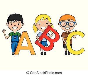 alfabeto, crianças, feliz