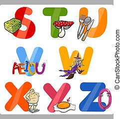 alfabeto, crianças, letras, educação, caricatura