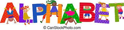 alfabeto, crianças, título, texto