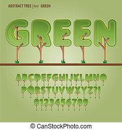 alfabeto, dígito, vetorial, árvore, abstratos