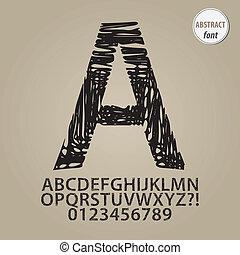 alfabeto, dígito, vetorial, abstratos, esboço