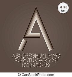 alfabeto, dígito, vetorial, abstratos, retro