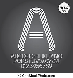 alfabeto, dígito, vetorial, linha, abstratos