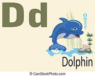 alfabeto, d, animal