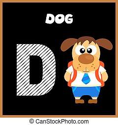 alfabeto, d, letra, inglês