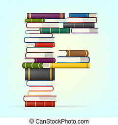 alfabeto, da, accatastare, di, multi colorato, libri