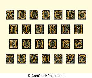 alfabeto, de, cedo, 16º século
