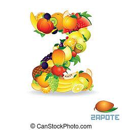 alfabeto, de, fruit., letra, z