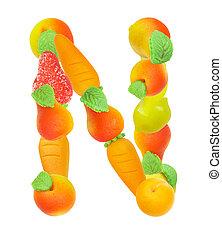 alfabeto, de, fruta, el, carta n