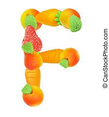 alfabeto, de, fruta, el, f de carta