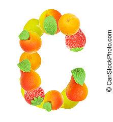 alfabeto, de, fruta, el, letra c