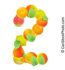 alfabeto, de, fruta, el, número 2