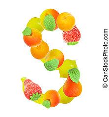 alfabeto, de, fruta, el s de carta