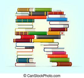 alfabeto, de, pilas, de, multi coloró, libros