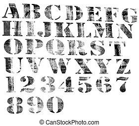 alfabeto, degraded