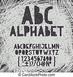 alfabeto, desenhar, grunge, abc, doodle, ilustração, mão, giz, vetorial, arranhão, fonte, tipo