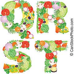 alfabeto, di, verdura, qrst