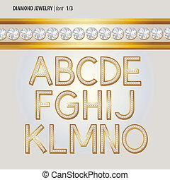 alfabeto, diamante, vetorial, jóia, clássicas