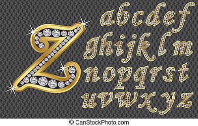 alfabeto, diamantes, dorado